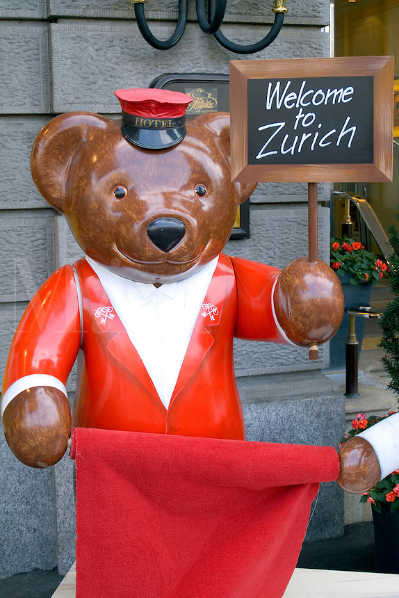 Switzerland Famous Bear statue welcoming tourists in Zurich Switzerland