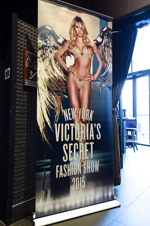 A banner for the Victoria's Secret Fashion show at an incentive event for top store worldwide store managers.