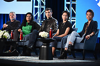 "PASADENA, CA - JANUARY 13: Jesse Angelo, President, Global News and Entertainment, Subrata De, Executive Producer and Showrunner, Seb Walker, Vice News DC Bureau Chief/Correspondent, Host and Correspondent Paola Ramos, and Isobel Yeung, Correspondent attend the panel for ""VICE"" during the Showtime presentation at the 2020 TCA Winter Press Tour at the Langham Huntington on January 13, 2020 in Pasadena, California. (Photo by Frank Micelotta/PictureGroup)"