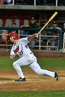 John Schuknecht (25) of the Orem Owlz follows through on his swing against the Billings Mustangs in Game 2 of the Pioneer League Championship at Home of the Owlz on September 16, 2016 in Orem, Utah. Orem defeated Billings 3-2 and are the 2016 Pioneer League Champions.(Stephen Smith/Four Seam Images)
