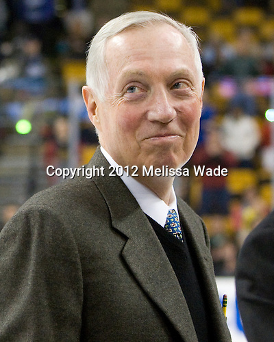 Jerry York (BC - Head Coach) - The Boston College Eagles defeated the University of Maine Black Bears 4-1 to win the 2012 Hockey East championship on Saturday, March 17, 2012, at TD Garden in Boston, Massachusetts.