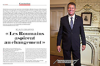 Portrait of the Romanian state president Klaus Iohannis in L'Express (French political magazine), 2014 December 24.<br /> Photographer: George Popescu