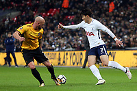 David Pipe of Newport County and Son Heung-Min of Tottenham Hotspur during Tottenham Hotspur vs Newport County, Emirates FA Cup Football at Wembley Stadium on 7th February 2018