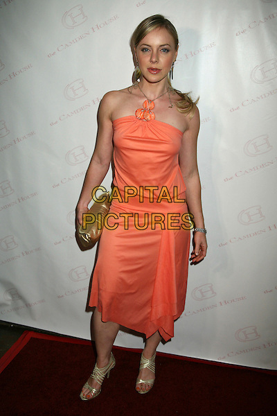 "SHIRLY BRENER.The 2nd Annual ""30 Under 30 Awards"" at The Camden House, Beverly Hills, California, USA..May 3rd, 2007.full length dress halterneck peach coral stones orange gold shoes clutch purse .CAP/ADM/BP.©Byron Purvis/AdMedia/Capital Pictures"