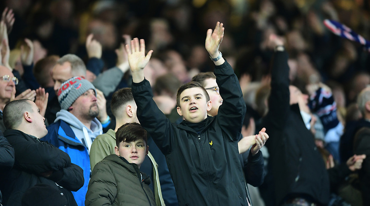 Bolton Wanderers fans celebrate their teams goal<br /> <br /> Photographer Chris Vaughan/CameraSport<br /> <br /> The EFL Sky Bet Championship - Sheffield Wednesday v Bolton Wanderers - Saturday 10th March 2018 - Hillsborough - Sheffield<br /> <br /> World Copyright &copy; 2018 CameraSport. All rights reserved. 43 Linden Ave. Countesthorpe. Leicester. England. LE8 5PG - Tel: +44 (0) 116 277 4147 - admin@camerasport.com - www.camerasport.com