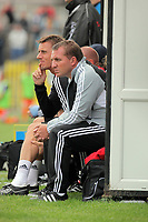 Pictured L-R: Tony Pennock and Swansea manager Brendan Rodgers. Saturday 17 July 2011<br /> Re: Pre season friendly, Neath Football Club v Swansea City FC at the Gnoll ground, Neath, south Wales.