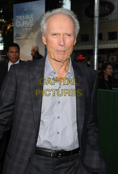 "Clint Eastwood.""Trouble With The Curve"" Los Angeles Premiere held at the Regency Village Theatre, Westwood, California, USA..September 19th, 2012.half length suit check black shirt blue .CAP/ROT/TM.©Tony Michaels/Roth Stock/Capital Pictures"