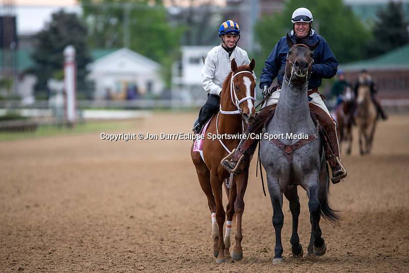 APRIL 26, 2015: I'm A Chatterbox, trained by Kenny McPeek walks along the outside of the track after exercises in preparation for the 141st Kentucky Oaks  at Churchill Downs in Louisville, KY. Jon Durr/ESW/Cal Sport Media