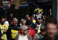 A young Watford fan arrives at todays match   during the Barclays Premier League match Watford and Swansea   played at Vicarage Road Stadium , Watford