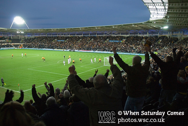 Hull City 3 Preston North End 0, 10/11/2007. KC Stadium, Championship. Celebrations begin in earnest at the KC. Photo by Paul Thompson.