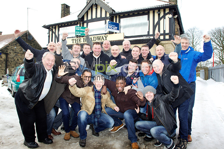 PICTURE BY SHAUN FLANNERY/SWPIX.COM..26th January 2013..Bradford City goalkeeper, Matt Duke (gillet & grey jumper) pictured with his former team mates from his pub team, Bradway FC in Sheffield.