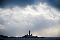 Landegode lighthouse with stormy sky, Vestfjord, Nordland, Norway