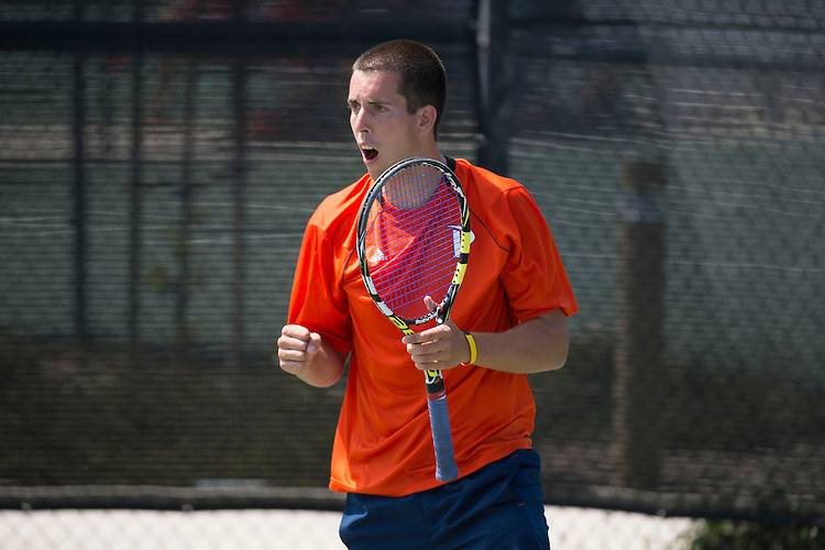 April 27, 2013; San Diego, CA, USA; Pepperdine Waves player Sebastian Fanselow during the WCC Tennis Championships at Barnes Tennis Center.