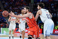 Real Madrid's Sergio Llull and Valencia Basket's Sam Van Rosso  during Quarter Finals match of 2017 King's Cup at Fernando Buesa Arena in Vitoria, Spain. February 19, 2017. (ALTERPHOTOS/BorjaB.Hojas)