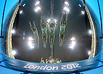 LONDON, ENGLAND - AUGUST 9:  Team Australia enters the water during the Synchronized Swimming Team Competition, Day 14 of the London 2012 Olympic Games on August 8, 2012 at the Aquatics Center, Olympic Park in London, England. (Photo by Donald Miralle) ***PICTURE OF THE DAY***