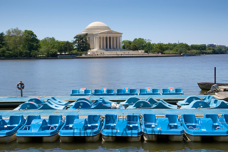 Pedalos on the Potomac River Tidal Basin by The Thomas Jefferson Memorial , Washington DC, USA