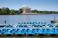 Pedalos on the Potomac River Tidal Basin by The Thomas Jefferson Memorial , Washington DC, USA