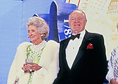 Entertainer Bob Hope and his wife, Delores, attend an Inaugural Ball celebrating the Inauguration of George H.W. Bush as the 41st President of the United States on Inauguration Day, January 20, 1989 in Washington, DC.<br /> Credit: Pam Price / Pool via CNP