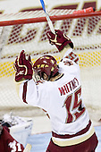 Joe Whitney (BC - 15) celebrates his goal which opened scoring in the second period. - The Boston College Eagles defeated the University of Massachusetts-Amherst Minutemen 2-1 (OT) on Friday, February 26, 2010, at Conte Forum in Chestnut Hill, Massachusetts.