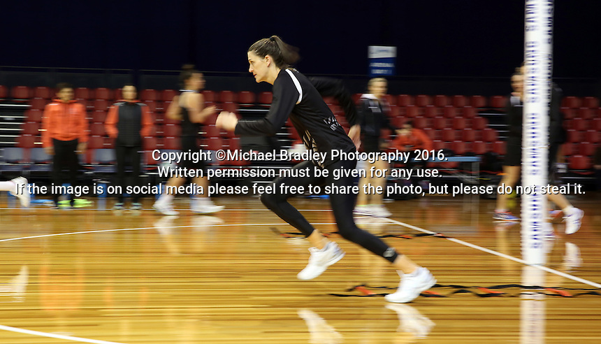 09.10.2016 Silver Ferns Anna Scarlett in action during training at the Silver Dome in Launceston in Australia. Mandatory Photo Credit ©Michael Bradley.