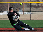 New Era second baseman Carlos Serusa makes the throw to first on a ball tipped off the pitchers glove in the Men's Open Division during the Sick Softball Winter Warmup tournament at Golden Eagle Regional Parks in Sparks, NV.  Smedes photo.