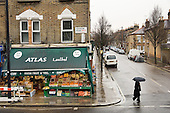 Corner shop selling fruit and vegetables, groceries and Halal meat on the Harrow Road and Second Avenue, Paddington.