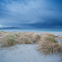 Dune grass blows in wind on stormy day overlooking Sound of Harris, Berneray, Outer Hebrides, Scotland