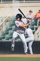 Mitchell Gunsolus (22) of the Greenville Drive at bat against the Kannapolis Intimidators at Intimidators Stadium on June 7, 2016 in Kannapolis, North Carolina.  The Drive defeated the Intimidators 4-1 in game one of a double header.  (Brian Westerholt/Four Seam Images)