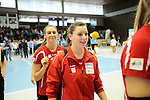 Rüsselsheim, Germany, April 13: Antonia Kaiser #13 of the Rote Raben Vilsbiburg after play off Game 1 in the best of three series in the semifinal of the DVL (Deutsche Volleyball-Bundesliga Damen) season 2013/2014 between the VC Wiesbaden and the Rote Raben Vilsbiburg on April 13, 2014 at Grosssporthalle in Rüsselsheim, Germany. Final score 0:3 (Photo by Dirk Markgraf / www.265-images.com) *** Local caption ***