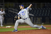 Indiana State Sycamores pitcher Ryan Keaffaber (40) delivers a pitch during a game against the Vanderbilt Commodores on February 20, 2015 at Charlotte Sports Park in Port Charlotte, Florida.  Vanderbilt defeated Indiana State 3-2.  (Mike Janes/Four Seam Images)