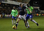 9th February 2018, The Den, London, England; EFL Championship football, Millwall versus Cardiff City; Sol Bamba of Cardiff City puts pressure on Steve Morison of Millwall
