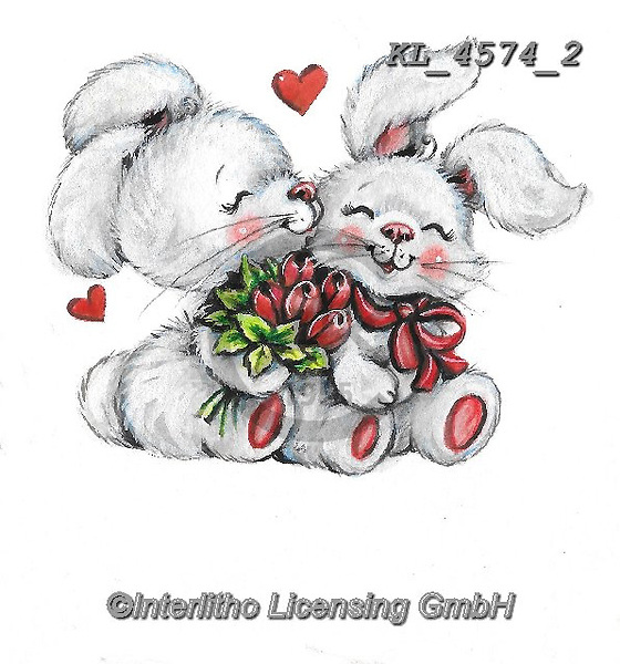 VALENTINE, VALENTIN, paintings+++++,KL4574/2,#v#, EVERYDAY ,sticker,stickers,rabbit,rabbits