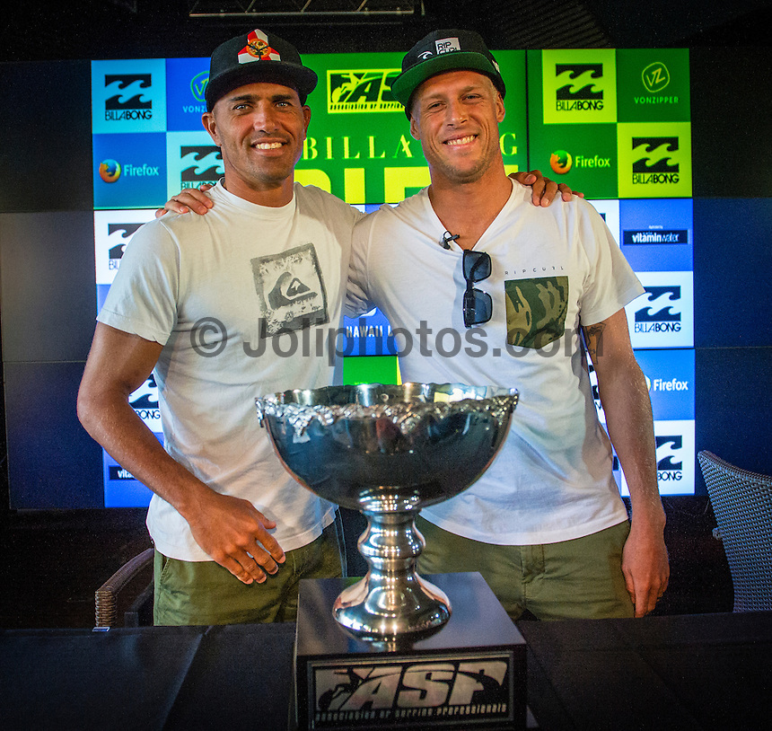 PIPELINE, Oahu, Hawaii (Friday, December 6, 2013) Both Kelly Slater (USA) and Mick Fanning (AUS) attended a press conference for the Billabong Pipe Masters this morning at the Turtle Bay Resort.- The 2013 ASP World Championship Tour (WCT) is nearing a close and the final event of 2013, the Billabong Pipe Masters in Memory of Andy Irons, will see a showdown for the ASP World Title between Mick Fanning (AUS), 32, and Kelly Slater (USA), 41. In addition to the battle for the throne, Pipeline will also determine the final qualification slots for the elite 2014 ASP World Championship Tour.. Photo: joliphotos.com
