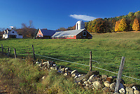 red barn, Cambridgesport, VT, Vermont, Red barn on a farm in autumn in Cambridgesport.
