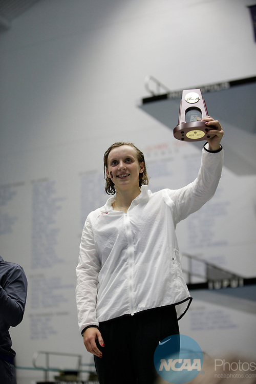 INDIANAPOLIS, IN - MARCH 18: Katie Ledecky of Stanford after the 1650 Yard Freestyle during the Division I Women's Swimming & Diving Championships held at the Indiana University Natatorium on March 18, 2017 in Indianapolis, Indiana. (Photo by A.J. Mast/NCAA Photos via Getty Images)