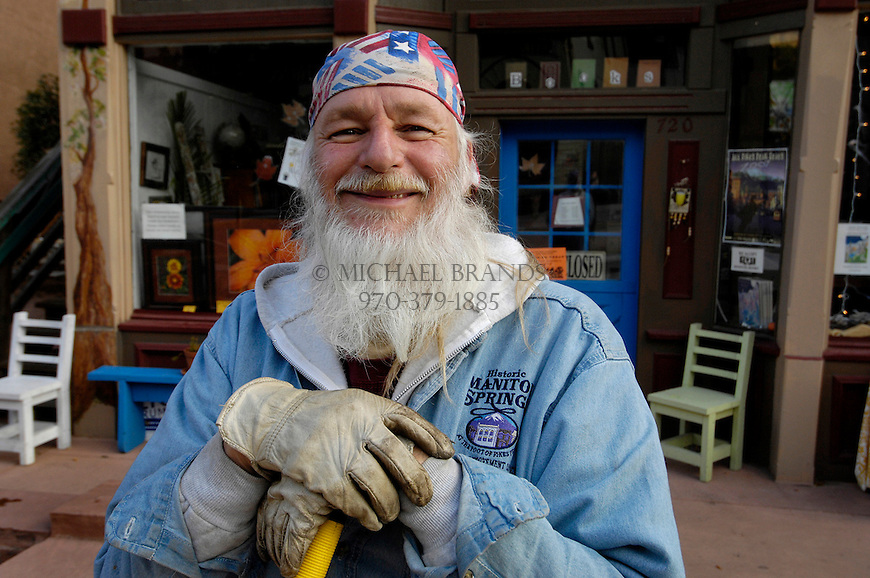 Street sweeper Hawk Taylor rises early in the morning to make sure the streets and sidewalks of Manitou Springs are clean. Michael Brands for The New York Times.