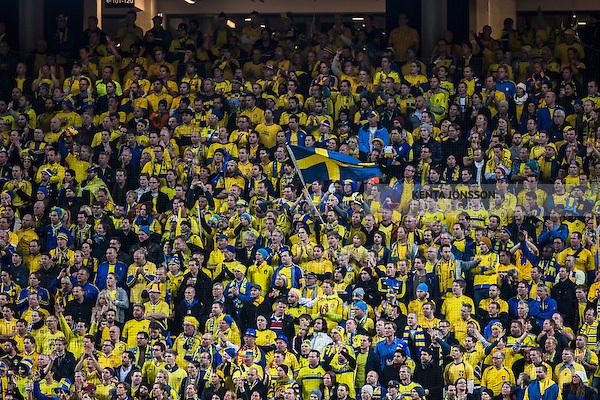Solna 2013-11-19 Fotboll VM-kval Playoff , Sverige - Portugal :  <br /> Sverige supportrar<br /> (Photo: Kenta J&ouml;nsson) Keywords:  Sweden Portugal supporter fans publik supporters