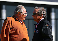Feb 3, 2016; Chandler, AZ, USA; NHRA team owner Connie Kalitta (left) and Don Schumacher during pre season testing at Wild Horse Pass Motorsports Park. Mandatory Credit: Mark J. Rebilas-USA TODAY Sports