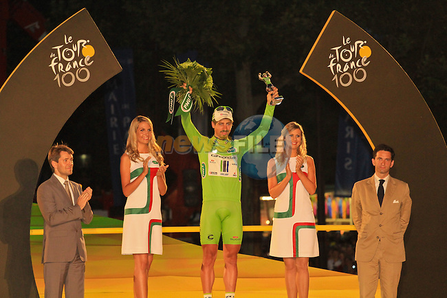 Peter Sagan (SVK) Cannondale wins the Points Green Jersey for the 2nd year in succession at the end of the Final Stage 21 of the 100th Edition of the 2013 Tour de France from Versailes to Paris Champs-Elysees. 21st July 2013.<br /> (Photo:Thomas van Bracht / Peloton Photos/www.newsfile.ie)