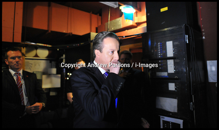 British Prime Minister David Cameron backstage before delivering his speech to delegates on the last day of the Conservative party conference, International Convention Centre, October 10, 2012, Birmingham, England. Photo by Andrew Parsons / i-Images...