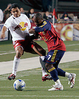 Andy Williams (7) steals the ball from Amado Guevara (20) in the New York Red Bulls vs. Real Salt Lake 1-1 tie at Rice Eccles Stadium in Salt Lake City, Utah April 15, 2006