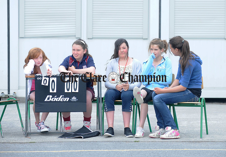 Waiting for the games to begin at the Marion Keane Memorial girls basketball finals at Knockanean National School. Photograph by Declan Monaghan