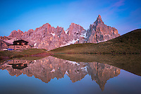 Baita Segantini and Pale di San Martino reflection