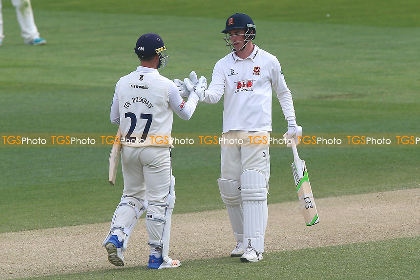 Ryan ten Doeschate of Essex (L) congratulates Daniel Lawrence on reaching his century during Essex CCC vs Lancashire CCC, Specsavers County Championship Division 1 Cricket at The Cloudfm County Ground on 10th April 2017