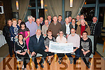 Bus Charity<br /> ---------------<br /> On Saturday night last in the Ballyroe Hts hotel organisers of the Maurice collins vintage day who collected 8250 euro  at their annual event the week before,gladly handed over the proceeds to Breda Dyland (seated 3rd rt) of the Cork/Kerry link bus charity service.