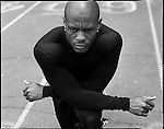 USA Olympic Preview 2004: Maurice GREENE, 30, Track (100-m dash and 4 x 100-m relay), Kansas City, Kansas, May 2004...2004 © David BURNETT (CONTACT PRESS IMAGES)