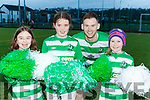 Killarney Celtic striker Peter McCarthy with cheerleaders Abbie Finnan, Amber McIndoe and Caoimhe O'Sullivan getting prepared for their FAI quarter final clash this weekend