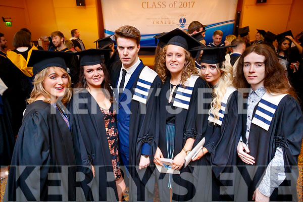 Shannen Smith (Abbeyfeale), Denise Reilly (Galway), Oliver Thornton (Tralee), Kate O'Riordan (Cork), Samantha Dee (Ballylongford) and Jonathon Casey (Listowel), all who graduated with a Higher Certificate in Arts in Hospitality Studies from IT Tralee, on Friday last at the Brandon Hotel Conference Centre, Tralee.