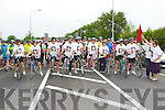 The cyclists line up at the the start of the Stephanie O'Sullivan memorial cycle in Killorglin on Sunday..