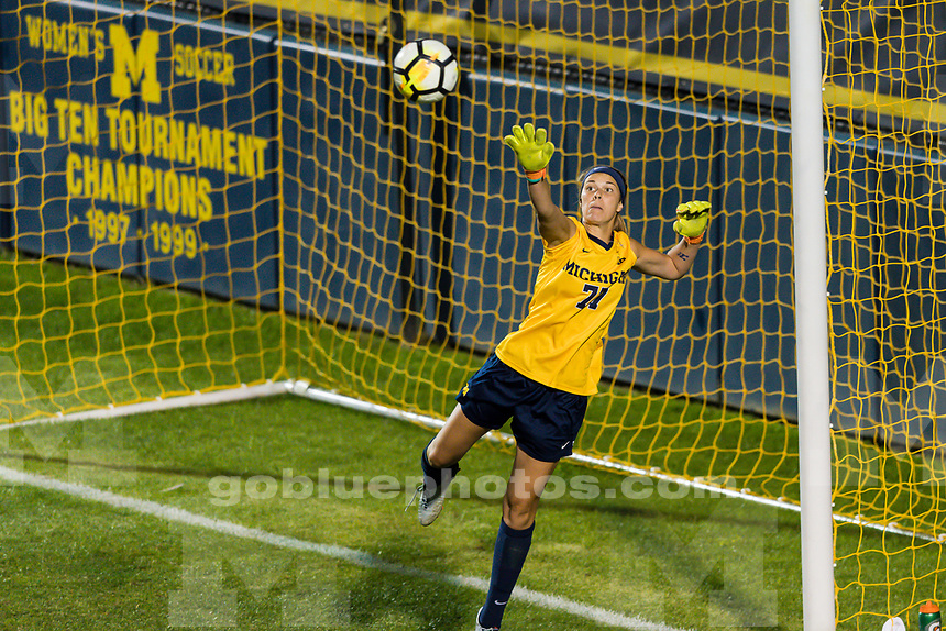 The University of Michigan women's soccer team defeats the Washington Huskies,2-0, at the UM Soccer Complex in Ann Arbor, MI on August 18, 2017.